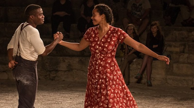 Ladi Emeruwa as Hamlet and Amanda Wilkin as Ophelia in the Globe's small-scale touring production of Hamlet, which will visit every country on earth between 23 April 2014 and 23 April 2016. Photographer Helena Miscioscia. Kourion Amphitheatre, Cyprus, 27 July 2014