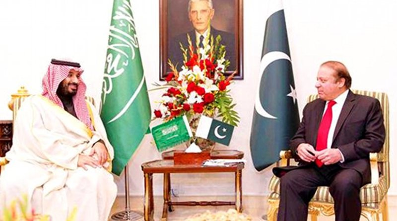 Saudi Arabia's Deputy Crown Prince Mohammed bin Salman holds talks with Pakistani Prime Minister Nawaz Sharif in Islamabad on Sunday. Photo Credit: SPA