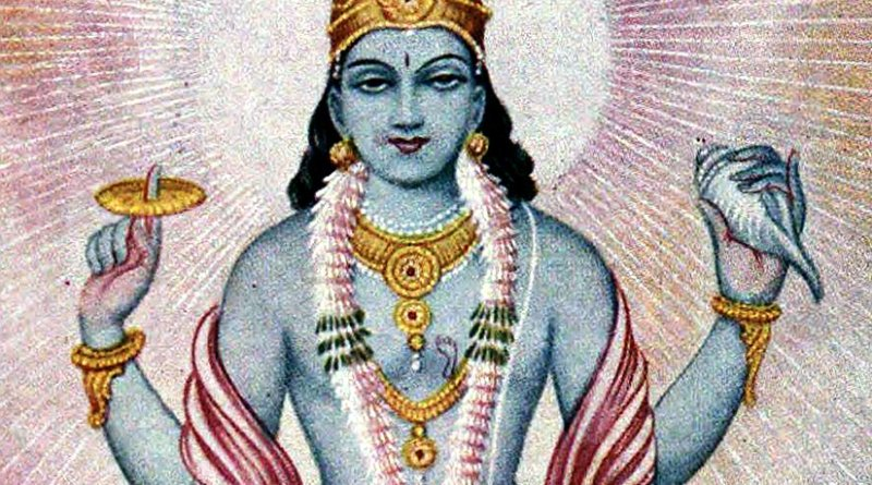 Hinduism's Lord Vishnu. Author: Ramanarayanadatta astri, Wikipedia Commons.