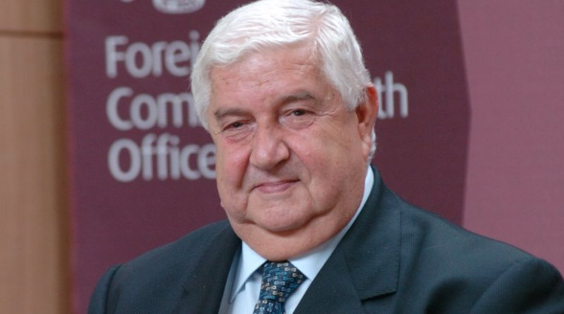 Syria's Walid Mohi Edine al Muallem. File photo by Foreign and Commonwealth Office, Wikipedia Commons.