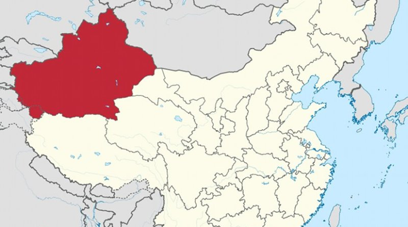 Location of Xinjiang Uyghur Autonomous Region in China. Source: Wikipedia Commons.