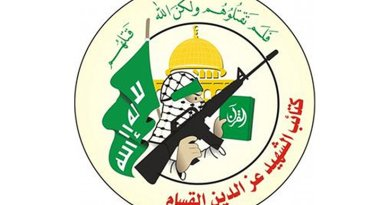 Logo for Hamas' Izziddin al-Qassam Brigades. Source: Wikipedia Commons.