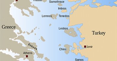 Map of the Aegean Sea. Source: Wikipedia Commons.