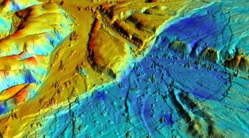 This 3-D LiDAR imaging of the Borrego Fault, ruptured during the 2010 El Mayor-Cucapah earthquake in Baja California, Mexico shows numerous small faults. The various colors represent elevation changes during the earthquake. Credit: UC Davis