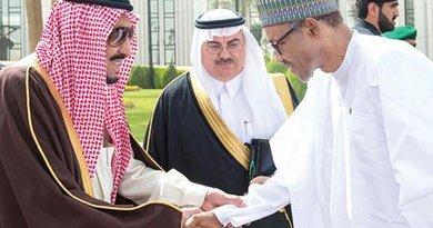 Custodian of the Two Holy Mosques King Salman receives Nigerian President Muhammadu Buhari before talks at Al-Yamamah Palace in Riyadh. Photo Credit: SPA
