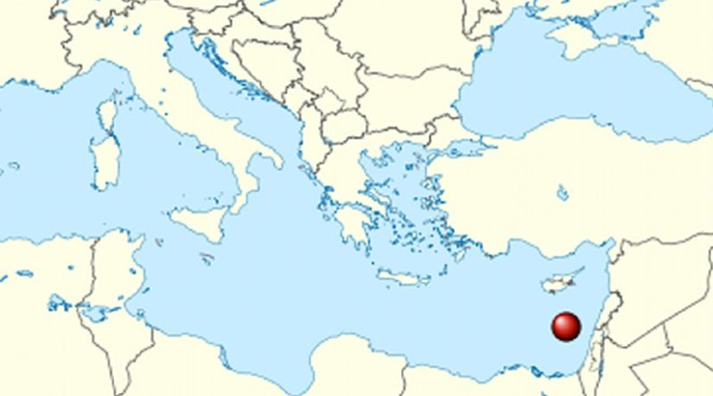 Location of the Leviathan gas field in the Eastern Mediterranean. Source: Wikipedia Commons.