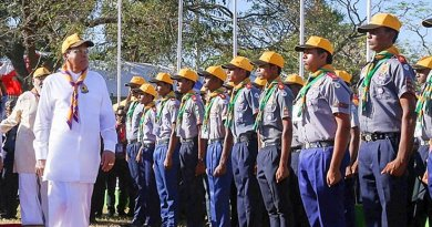 Sri Lanka President Maithripala Sirisena at ceremony held in Jaffna Central College grounds to officially inaugurate the 9th National Scout Jamboree. Photo Credit: Sri Lanka President's Office.