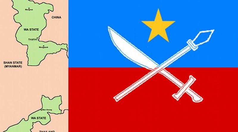 Flag of the United Wa State Army and areas of operation in Burma (Mynamar) and Thailand. Source: Wikipedia Commons.