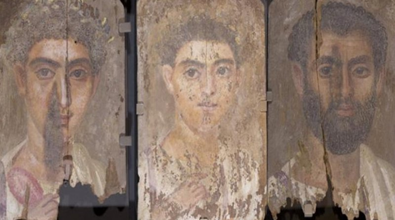Roman-era Egyptian mummy portraits from the site of Tebtunis, Egypt. Northwestern researchers discovered all three share similar style, materials and layering structure of paint, leading them to conclude the three paintings were made by a single artistic hand. From the left: 'Portrait of a Boy,'; & 'Portrait of a Young Man,' and ;'Portrait of a Bearded Man.' Credit: Phoebe A. Hearst Museum of Anthropology, University of California, Berkeley.