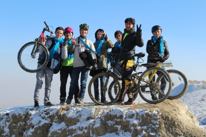 The Afghan Peace Volunteers in the new 'Borderfree Afghan Cycling Club' team. Photo by Dr. Hakim.