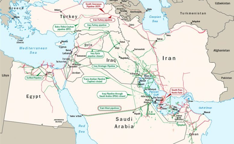 Oil and natural gas infrastructure in the Middle East. Source: EIA