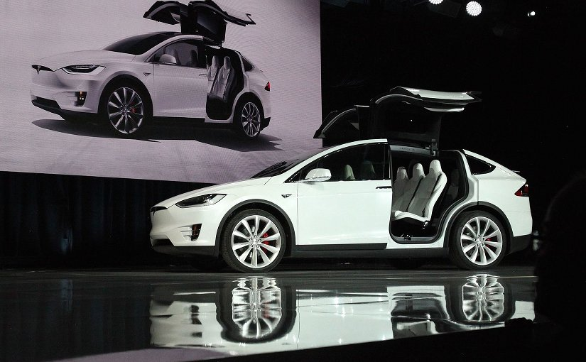 Tesla Model X at the market launch ceremony. Photo by Steve Jurvetson, Wikipedia Commons.