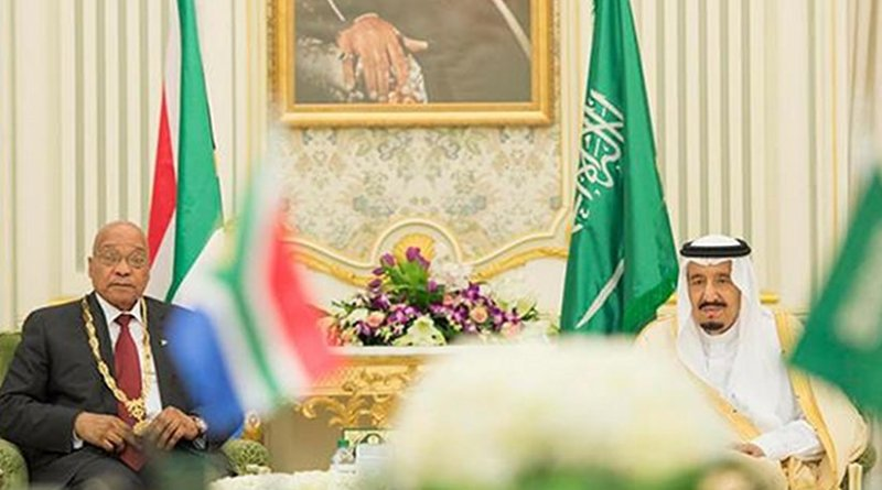Custodian of the Two Holy Mosques King Salman with South Africa President Jacob Zuma after decorating him with the King Abdul Aziz Medal at Al-Yamamah Palace in Riyadh on Sunday. Photo credit: SPA
