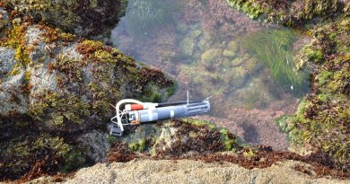 This image shows sampling pump and a device to measure temperature, salinity and depth in a tide pool of the UC Bodega Marine Reserve. Credit Photo credit: Lester Kwiatkowski