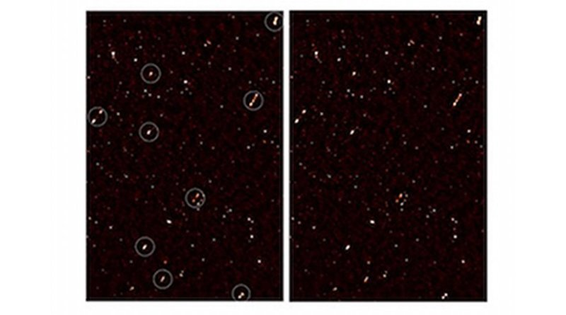 An image of the deep radio map covering the ELAIS-N1 region, with aligned galaxy jets. The image on the left has white circles around the aligned galaxies; the image on the right is without the circles. Credit: Prof Russ Taylor
