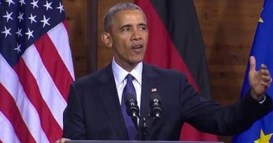 US President Barack Obama speaking in Germany. Source: Screenshot from White House video.