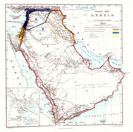 British Cabinet map showing the proposed boundaries of Iraq in early 1921