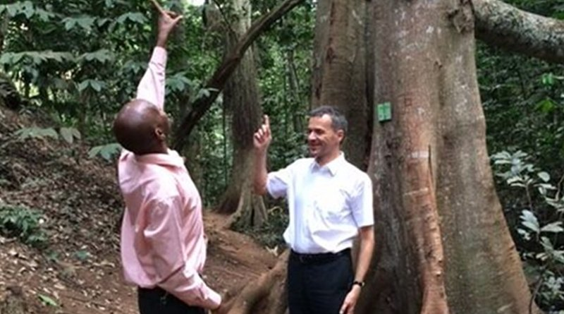 Professor Heiko Balzter at a tour of Karura Forest Reserve in Nairobi with the Kenya Forest Service