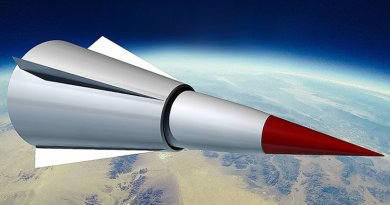 A notional concept graphic of a Chinese WU-14 HGV (now DF-ZF) missile. By Daniel Toschläger, Wikipedia Commons.