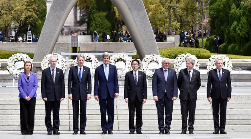 The first visit to the Hiroshima Peace Memorial Park by all the G7 Foreign Ministers. Credit: Ministry of Foreign Affairs, Japan.