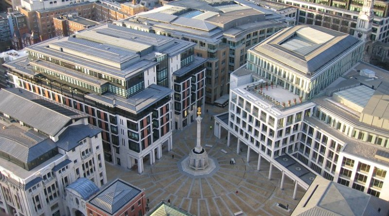 Paternoster Square, City of London, England – the new home of the London Stock Exchange and next door to St Paul's Cathedral. Photo by Gren, Wikipedia Commons.