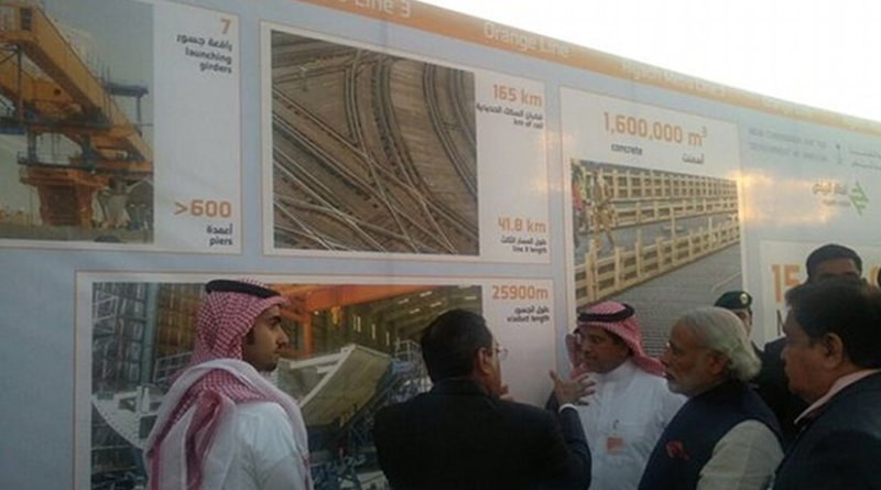 India's Prime Minister Narendra Modi visiting the L&T workers' residential complex in Riyadh, Saudi Arabia. L&T is part of a consortium that is building a section of the Riyadh Metro. Photo Credit: India's Prime Minister Office.