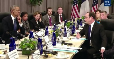 President Obama Holds a Bilateral Meeting with President Francois Hollande of France. Screenshot from White House video.