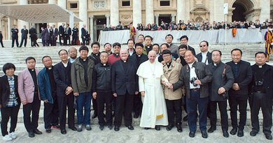 Pope Francis meets with the 23 priests from China who were introduced by Father Jeroom Heyndrickx. Photo courtesy of the Verbiest Institute