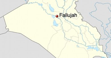 Location of Fallujah in Iraq. Source: Wikipedia Commons.