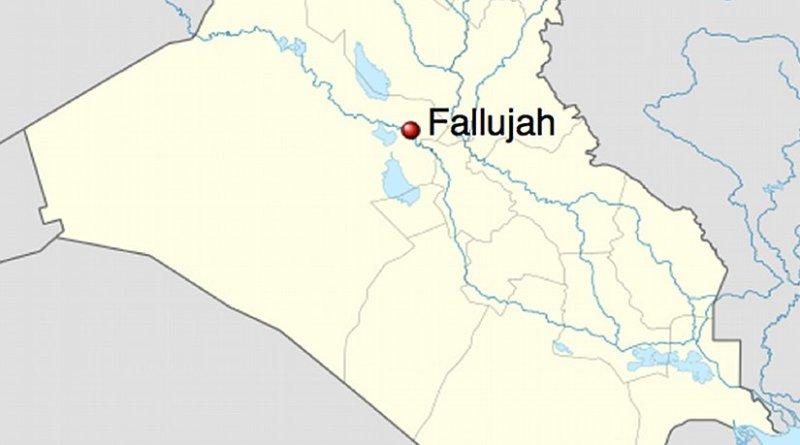 Location of Fallujah in Iraq. Source: Wikipedia Commons.