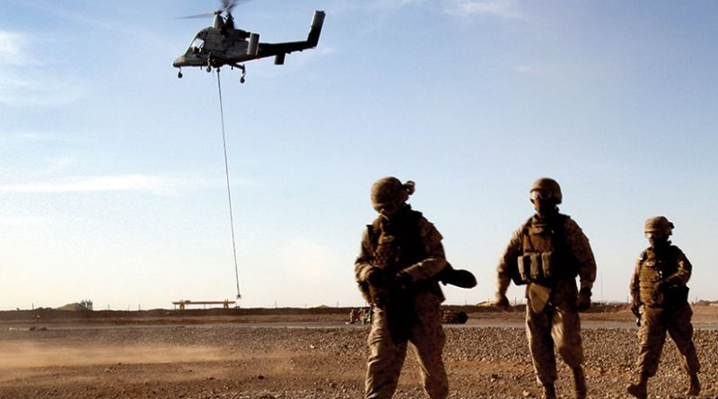 """Marines with Combat Logistics Battalion 5 return after learning about downward thrust of Kaman K1200 (""""K-MAX"""") unmanned helicopter during initial testing in Helmand Province, Afghanistan (U.S. Marine Corps/Lisa Tourtelot)"""