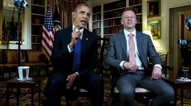 President Barack Obama and rapper Macklemore (Ben Haggerty) tape the Weekly Address in Library at the White House, May 12, 2016. (Official White House Photo By Chuck Kennedy)