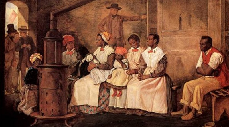 Slaves Waiting for Sale: Richmond, Virginia. Painted upon the sketch of 1853. Source: Wikipedia Commons.