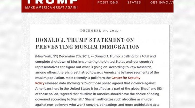 Donald Trump statement on prevention Muslim immigration.