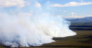 Wildfires, like the 2012 tundra fire in the Noatak National Preserve in Alaska, are projected to be up to four times as likely by the end of the century. Credit The University of Montana courtesy photo