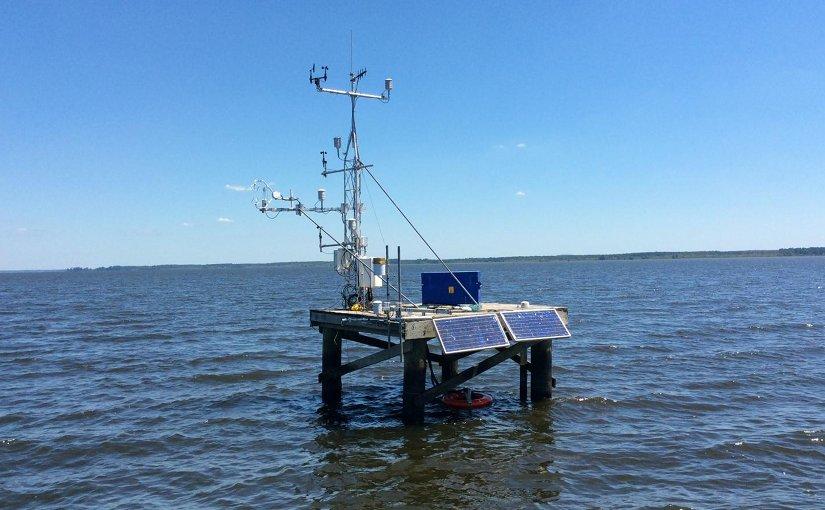 Solar-powered device takes measurements over Mississippi's Ross Barnett Reservoir. Credit Washington State University