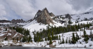 This is Sundial Peak, in the Wasatch Mountains, with Lake Blanche (elevation 8920 feet, 2718 meters) in the foreground, May 2016. Credit David White.