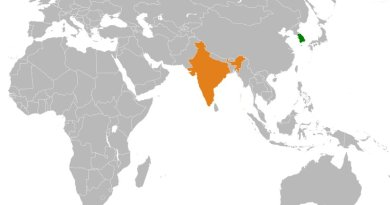 Locations of India and South Korea. Source: Wikipedia Commons.