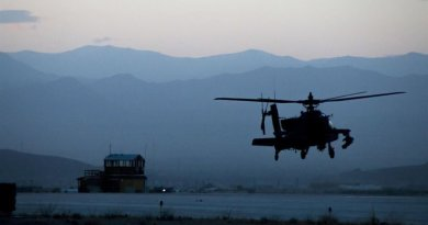 A U.S. Army AH-64 Apache helicopter from the 3rd Combat Aviation Brigade takes off from Forward Operating Base Dahlke, Afghanistan. US Army photo.