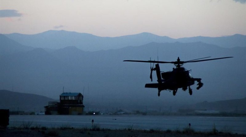 A U.S. Army AH-64 Apache helicopter from the 3rd Combat Aviation Brigade takes off from Forward Operating Base Dahlke, Afghanistan, May 18, 2016. The 40th CAB sent soldiers, aircraft and equipment to the base in May to support the garrison's mission to train, advise and assist the Afghan National Army. U.S. Apache helicopters have entered the fight in Iraq against the Islamic State of Iraq and the Levant, Defense Secretary Ash Carter told reporters June 13. Army photo by Staff Sgt. Ian M. Kummer