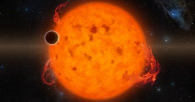 K2-33b, shown in this illustration, is one of the youngest exoplanets detected to date. It makes a complete orbit around its star in about five days. Source: NASA/JPL-Caltech