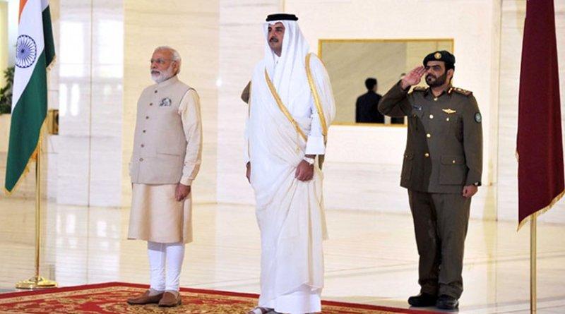 India's Prime Minister, Shri Narendra Modi receives ceremonial honours, at Emiri Diwan, in Doha, Qatar on June 05, 2016. Photo Credit: India PM office.