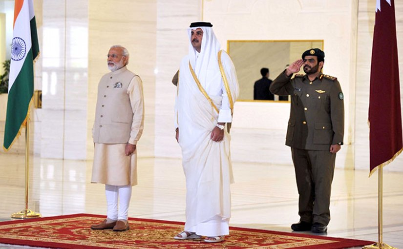 India's Prime Minister, Shri Narendra Modi receives ceremonial honours, at Emiri Diwan, in Doha, Qatar on June 05, 2016. Photo Credit: India PM office.