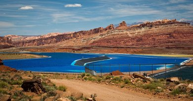 Potash evaporation ponds near Moab, Utah. Photo by Orange Suede Sofa, Wikipedia Commons.