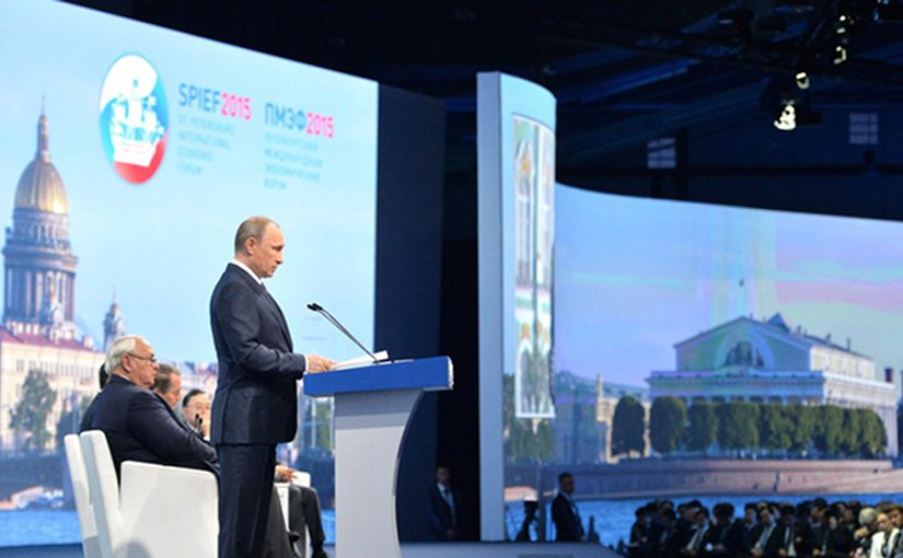 Russia's Vladimir Putin speaking at SPIEF. Photo Credit: Kremlin.ru