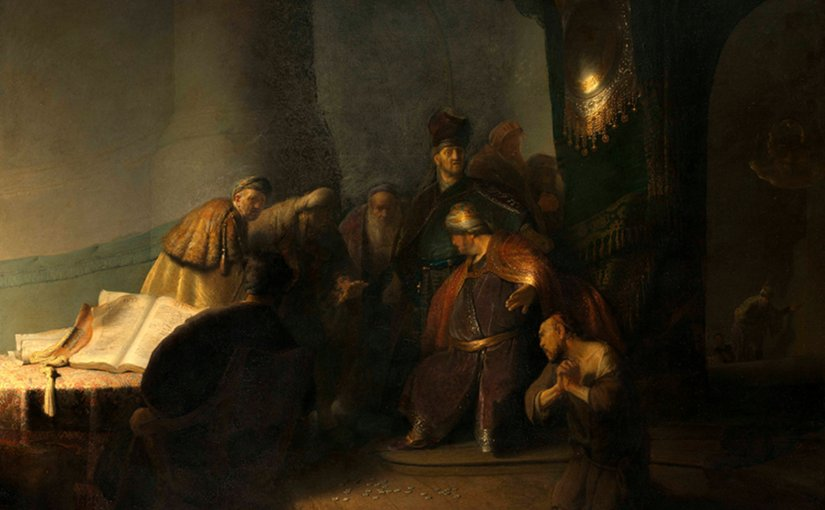 Rembrandt van Rijn (1606-1669), Judas Returning the Thirty Pieces of Silver, 1629. Oil on panel. © Private Collection, Photography courtesy of The National Gallery, London, 2016.