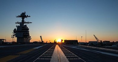 The sun rises over Pre-Commissioning Unit Gerald R. Ford (CVN 78), marking the beginning of the second day of Fast Cruise. Ford is conducting a three-day Fast Cruise to familiarize the crew with the ship's systems for an extended period of time. (U.S. Navy photo by Mass Communication Specialist Seaman Ryan Carter/Released)