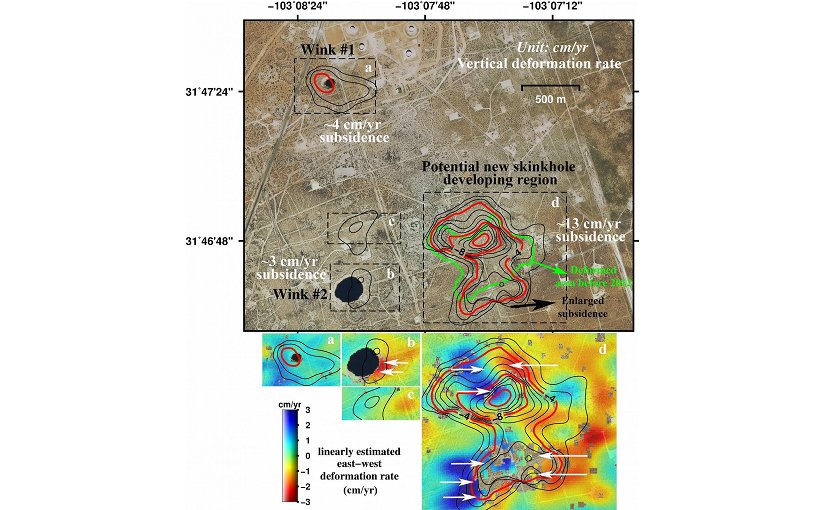 Measurements from satellite radar images of two giant West Texas sinkholes (dark black areas) shows the ground around them is sinking, including indications a much larger potential new sinkhole is developing. The rates of east-west deformation of the ground (cm/year) are indicated in blue (eastward) and red (westward). Credit (Jin-woo Kim, SMU)