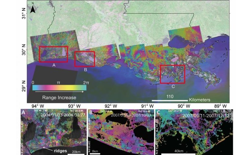 The red frames show the location of enlarged interferograms presented in Figures A, B and C. A) Radarsat-1 interferogram of the western Chenier Plain spanning 24-day period (2004/01/03-2004/01/27). In the central part of the interferogram fringe patterns show changes in inland water bodies. The left side of the interferogram shows fringe patterns due to the morphology of the Chenier reflecting water level changes in the mudflats in between the ridges of the Chenier's. B) ALOS interferogram, 92 days (2007/07/03-2007/10/03), of the central Chenier Plain showing phase changes due to elongated fringe patterns sub-parallel to the coastline coinciding with man-made canals. C) ALOS interferogram of the west of the Mississippi River delta, spanning 92-day period (2007/09/11-2007/12/12). The interferogram showing two fringe cycles across the tidal zone mapping the tide inundation extent. Credit Talib Oliver-Cabrera, UM Rosenstiel School of Marine and Atmospheric Science
