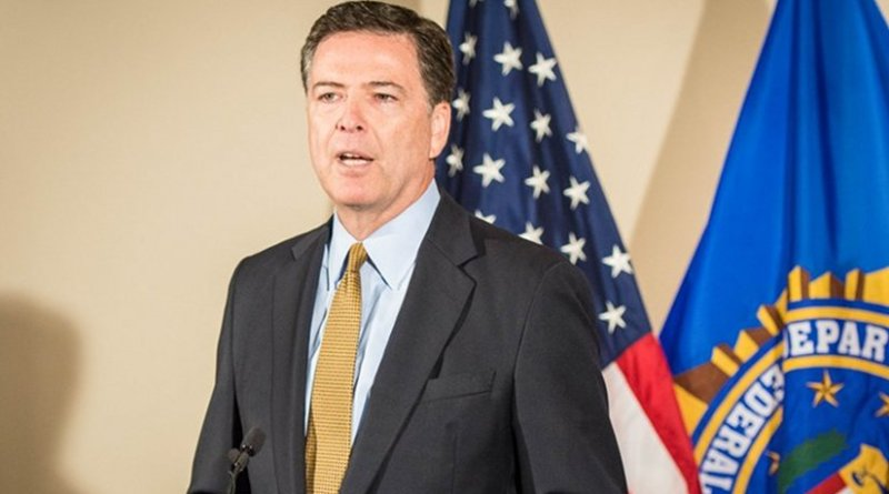 FBI Director James B. Comey addresses reporters during a July 5, 2016 press briefing at FBI Headquarters on the investigation of Secretary Hillary Clinton's use of a personal e-mail system. Photo credit: FBI